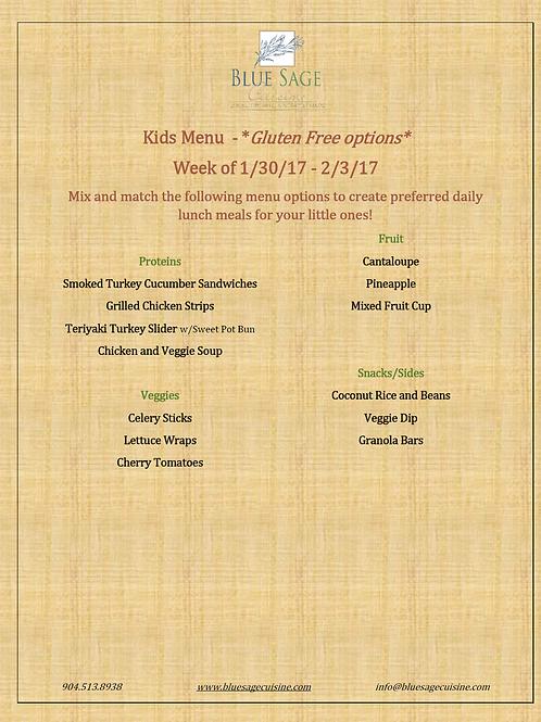 Gluten Free Kids - Weekly Meal Plan- 5 Meal Plan - 1/30-2/3
