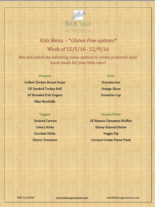 Gluten Free Kids - Weekly Meal Plan- 5 Meal Plan - 12/5- 12/9