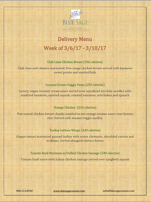 Meal Delivery - 5 Meal Plan - 3/6 - 3/10