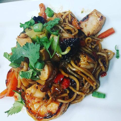 Jerk Chicken and Shrimp Chow Mein