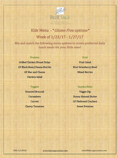 Gluten Free Kids - Weekly Meal Plan- 5 Meal Plan - 1/23-1/27