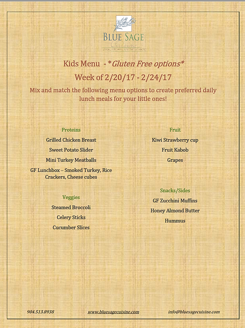 Gluten Free Kids - Weekly Meal Plan- 5 Meal Plan - 2/20-2/24