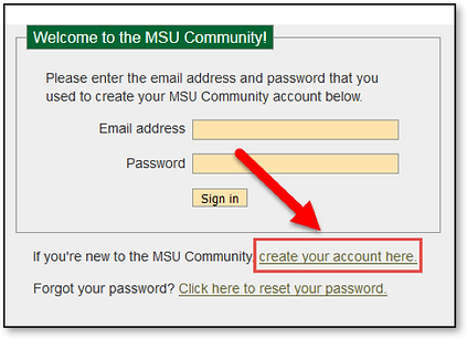Screen shot of Create Account page
