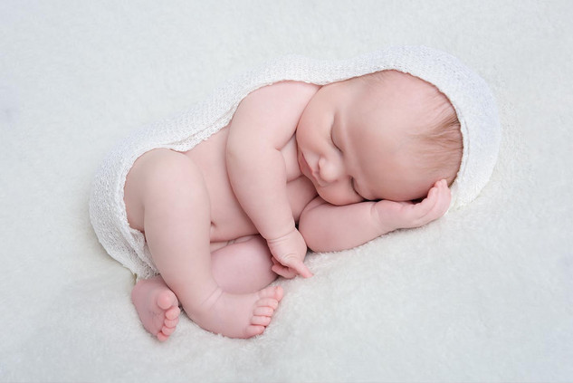 white cocoon baby pose