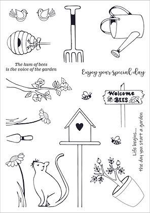 Garden Days A5 Clear Photopolymer Stamp Set