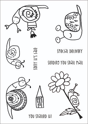A6 Clear Photopolymer Stamp Set - Snail Mail