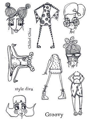 Chilled Chicas by Zinski Art - A5 stamp set