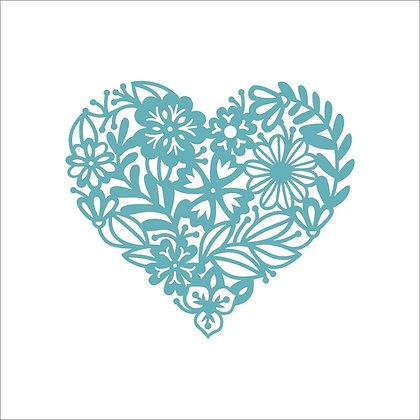 Floral Lace Heart Stencil