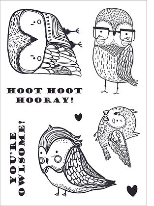 Quirky Owls A6 Clear Stamp Set