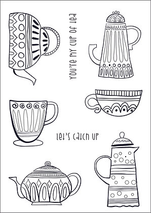 A6 Clear Photopolymer Stamp Set - Time for Tea