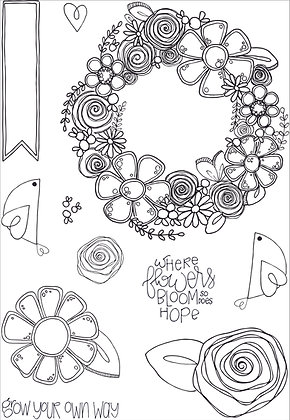 Blooming Wreath - A5 clear photopolymer stamp set