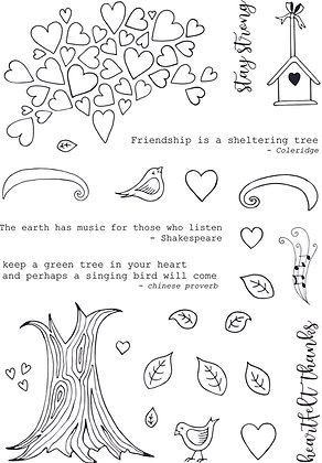 Heartfelt Tree A5 stamp set