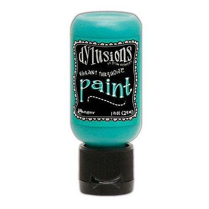 Dylusions Paint - Vibrant Turquoise, 1oz bottle