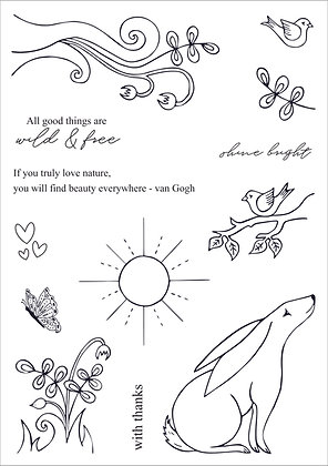 Wild and Free A5 stamp set