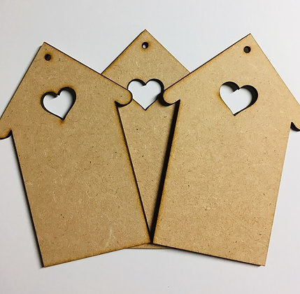 MDF Hanging House Decoration with Heart Cutout Set of 3