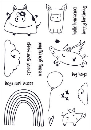 Hogs and Kisses A5 Stamp Set