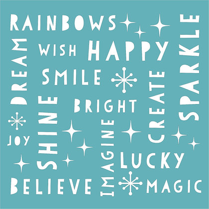 Rainbow Words Stencil