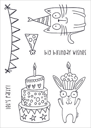 Let's Party - A6 clear photopolymer stamp set