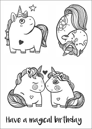 Chubby Unicorns A6 clear stamp set