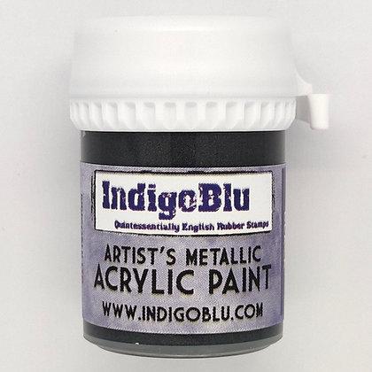 IndigoBlu Artist Metallic Acrylic Paint - Raven Black, 20ml