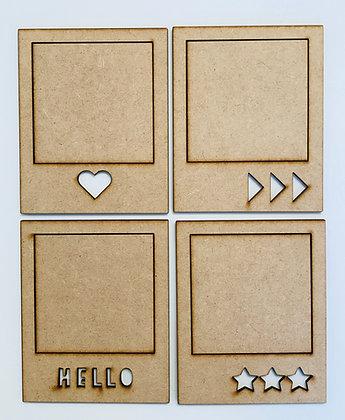 MDF Polaroid Frames - set of 4