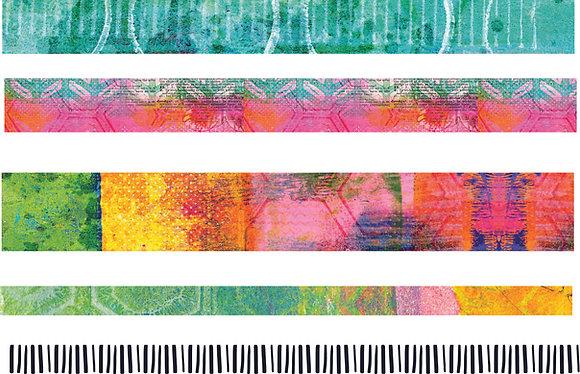 Mixed Media Kaleidoscope set of 5 washi tapes