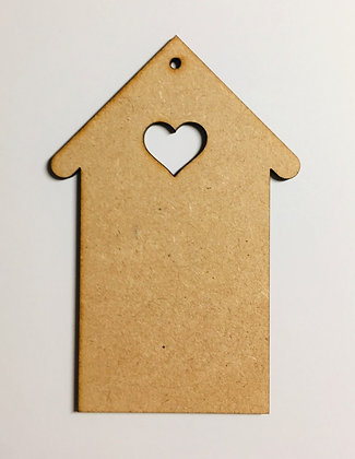MDF Hanging House Decoration with Heart Cutout