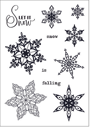 Filigree Flakes A6 clear stamp set