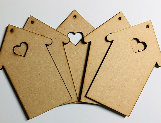 MDF Hanging House Decoration with Heart Cutout Set of 5