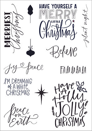 Festive Phrases A5 clear stamp set