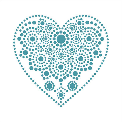 Dotty Mandala Heart Stencil