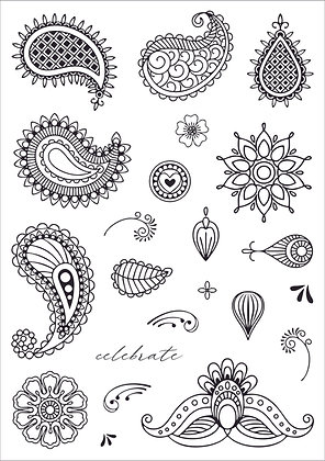 Paisley Prints - A5 clear photopolymer stamp set