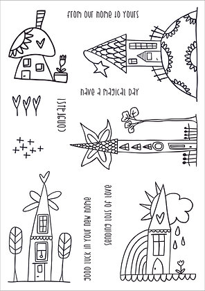 A5 Clear Photopolymer Stamp Set - Whimsy Town