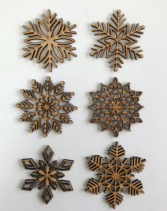 MDF Snowflake Embellishments - pack of 18