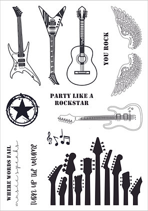Guitar Hero - A5 clear photopolymer stamp set