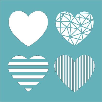 Four Hearts Stencil
