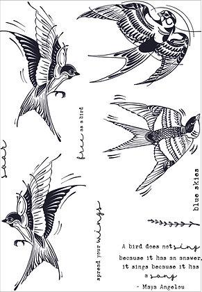 Bird Song A5 stamp set