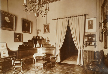 Living room of family portraits