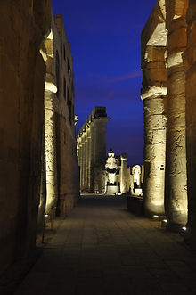 Outdoor LED lighitng of Luxor Temple