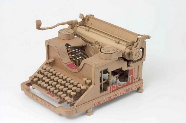 Cardboard art_ Life size replica of Typewritter - by Chris Gilmour, Italy-based British artist