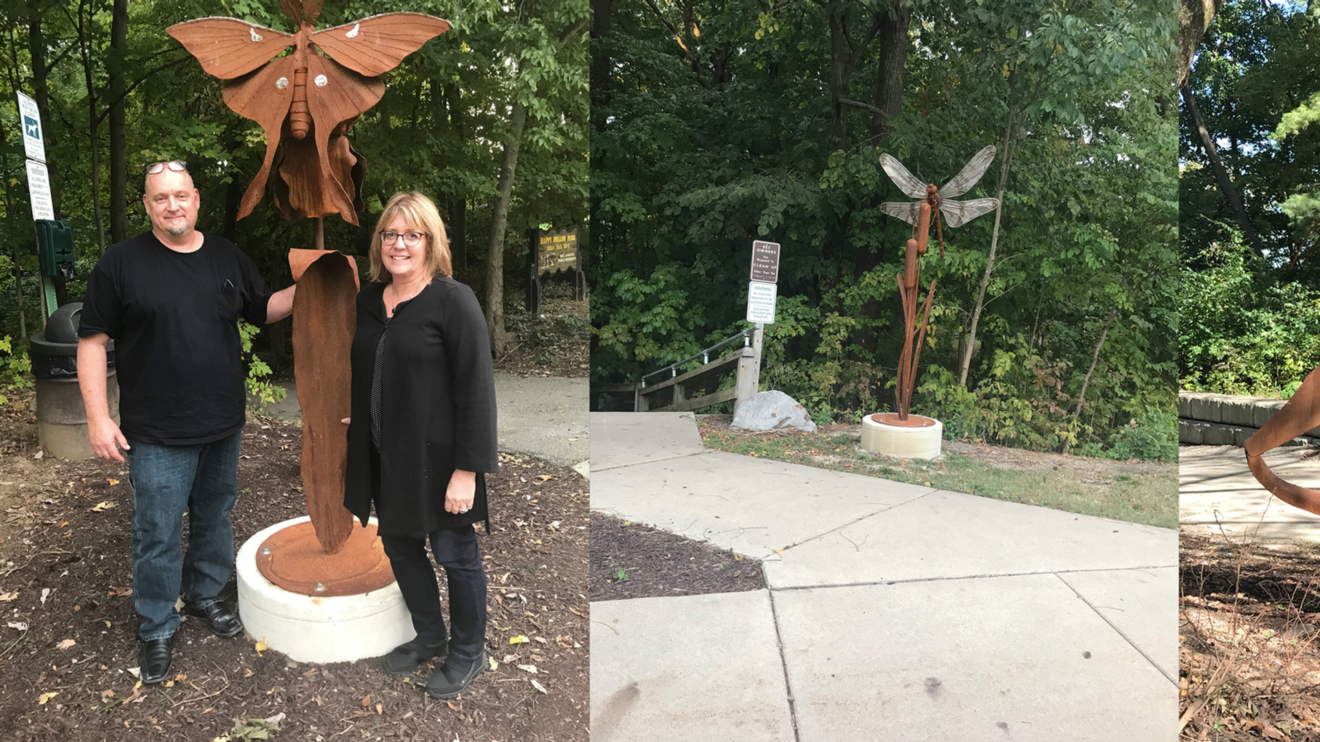 insect sculptures at trail head West Lafayette IN