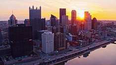 Sunrise over Pittsburgh 03   Drone