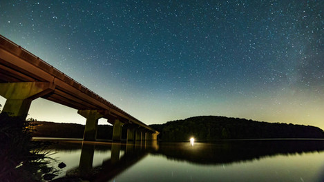 Milkway over bridge and lake | Time Lapse