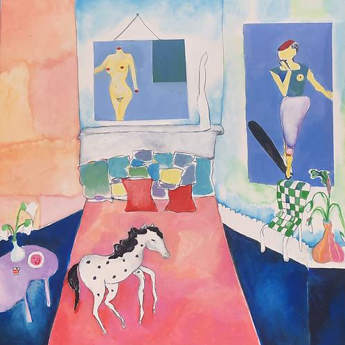 """Wild horse sleeps alone"" Fine art print & poem 2021"