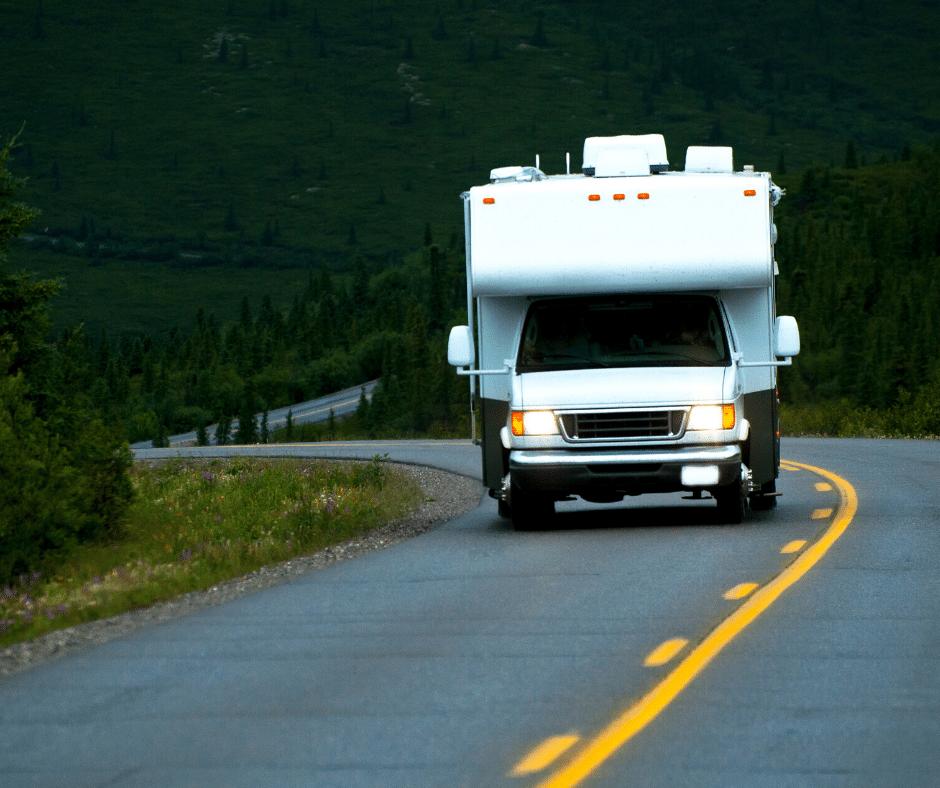 RV on mountainous road