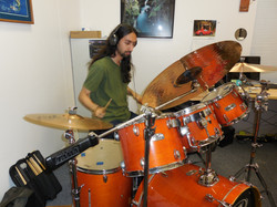 Ramin recording some drums