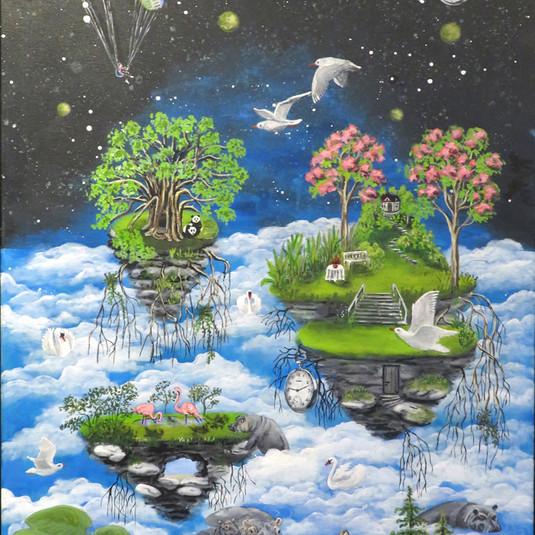 Dagdrømme med flodheste, 60 x 80 cm - privateje