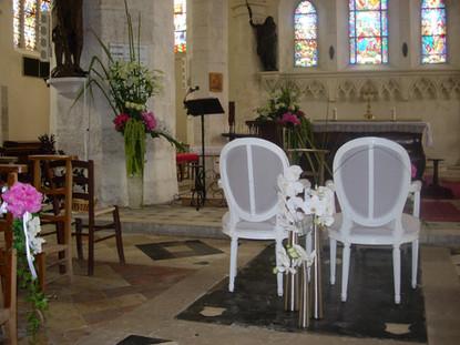 Décoration d'église pour mariage