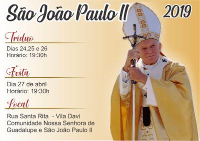 Inicia hoje Tríduo a São João Paulo II