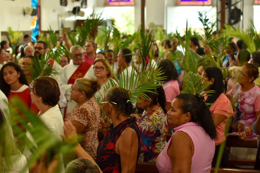Chegada da procissão de Ramos ao Santuário do Padroeiro | Foto: Pascom SJR